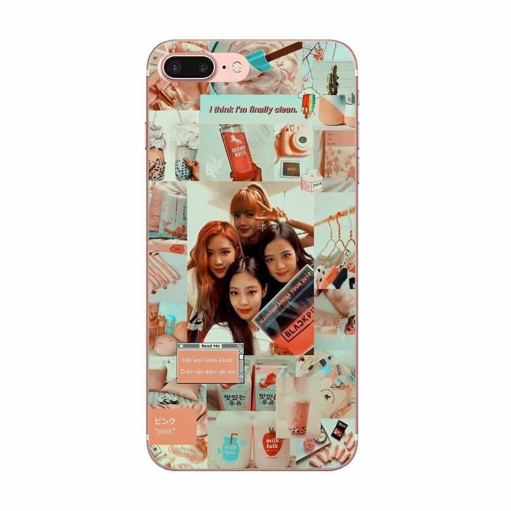 Soft TPU กรณี Blackpink Jisoo Jennie Rose Lisa สำหรับ Apple iPhone 4 4 S 5 5C 5 S SE 6 6 S 7 8 Plus X XS Max XR