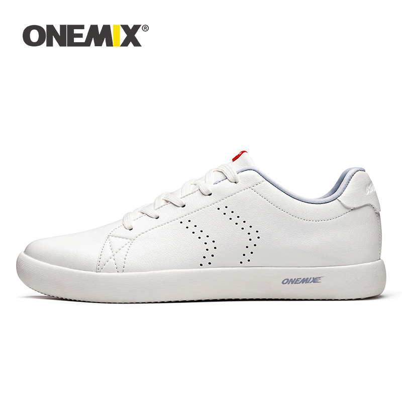 ONEMIX Couple Skateboarding Shoes Women White Flats 2019 New College Style Leather Breathable Men Casual Sneakers Jogging Shoes