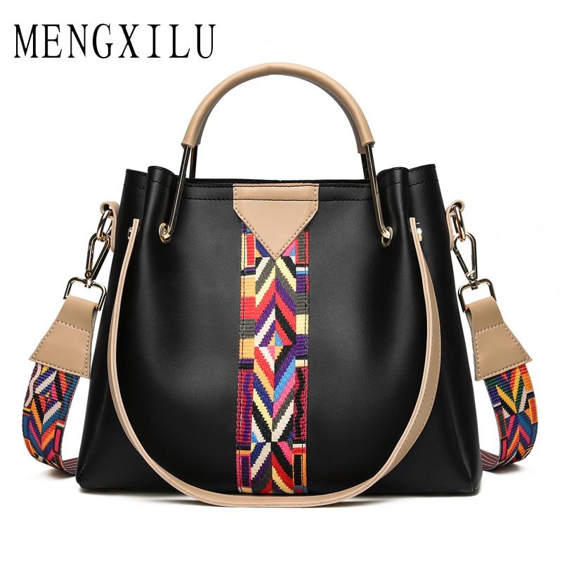 MENGXILU Brand Pu Leather Bag Luxury Handbags Women Designer Metal Handle Ladies Shoulder Bags Colorful Strap Tote Bags 2018 Sac