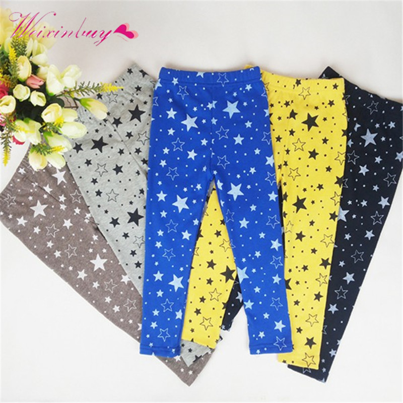 2017 Child Kids Girls Star Printed Pants Skinny Pants Warm Stretchy Leggings Trousers серьги