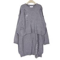 Jesień Zima Sweter Projektant Drutach Sweter Szary Długim Rękawem Hollow Światła Hem Długie Swetry Nowy Poncho Kobiet Ubrania