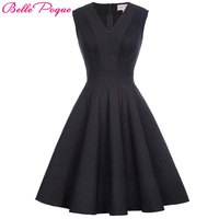 Belle Poque Black Big Size Vintage Dress Women Summer Autumn Sexy V Neck Sleeveless Elegant Rockabilly