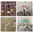 Baby Rattles Bracket Set DIY Hanging Baby Crib Mobile Bed Bell Toy Rotary Holder Arm Bracket With Clockwork Movement Music Box