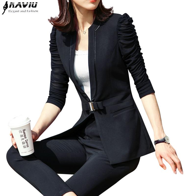 Fashion 2 piece set women clothes 2019 elegant Business slim half sleeve blazer with pants plus