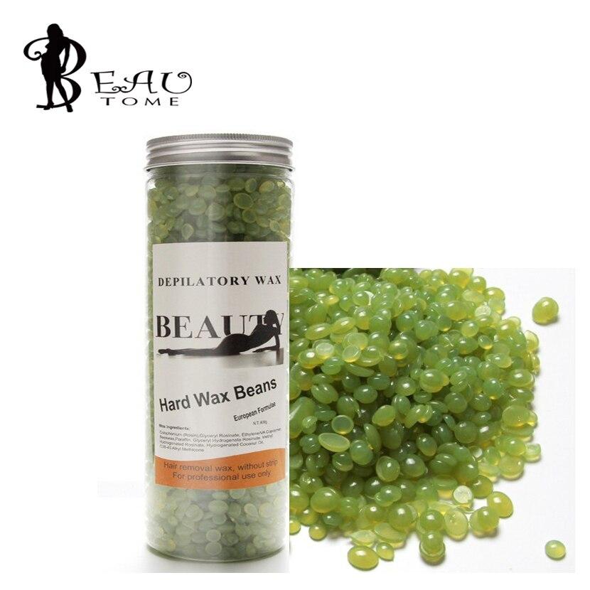 Beautome New Depilatory Wax Free paper 400G Wax Beans Shaving Painless Allergy Moisturizing Melt For All Skin Green Tea Flavor