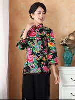 2014 Black Summer Cotton Chinese Traditional Womens Tops Blouse Shirt Short Sleeves Size S M L