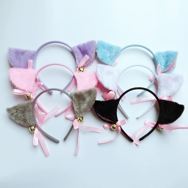 Women Cute Fluffy Plush Cat Ear Headband With Bowknot Ring Bell Fancy Dress Anime Cosplay Costume Hair Hoop Night Party   Headwear
