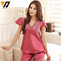 Para mujer de manga Corta de Encaje Pijamas de Satén de Seda de Primavera Otoño Ocio Loungewear ropa de Dormir Conjunto L-3XL