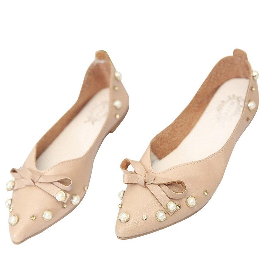 Femme Plat Arc Chaussures Printemps Bowknot Femmes Occasionnels blanc Chaussure Simples Talon Cravate on Slip Appartements Marron Étudiants wz6zqIxEd