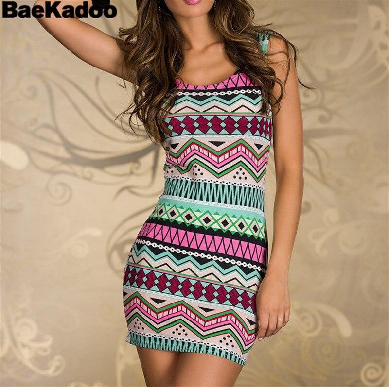 BAEKADOO Women Casual Striped Mini Retro Dress Vestidos Party Dress