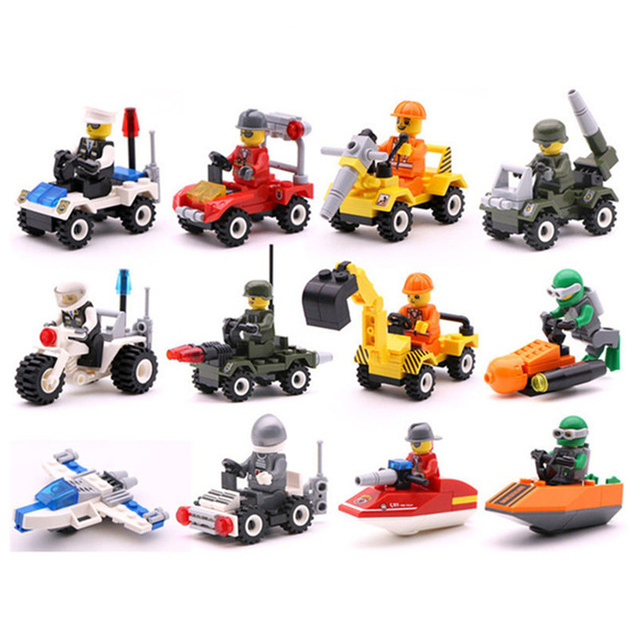 Original Mini Transportation Block Car Building Compatible Duplo City Soliders Police Bricks For Children Gift