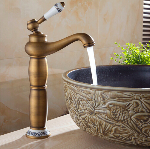 Free Shipping Deck Mounted Tall Antique Brass Bathroom Faucet Single Ceramic Handle Ceramic Holder Basin Sink Mixer Tap A-070Free Shipping Deck Mounted Tall Antique Brass Bathroom Faucet Single Ceramic Handle Ceramic Holder Basin Sink Mixer Tap A-070