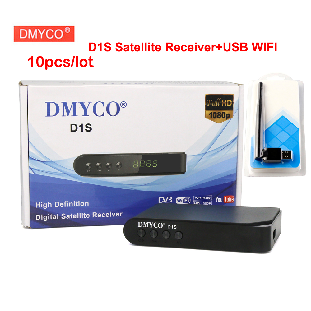 цена на 10pcs/lot DMYCO D1S Digital satellite receiver dvb-s2 Full 1080P support Cccam cline 1 year youtube Youporn TV receptor+wifi usb