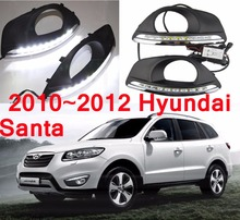 car-styling,2010~2012 Santa Fe daytime light,Free ship!LED,chrome,Santa Fe fog light,tucson,2ps/set;solaris; IX45,SONATA,ix35