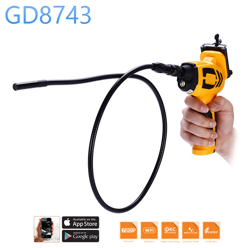 GD8743 720p HD Wifi 9mm Diameter Endoscope Snake Camera Flexible Goose Neck Tube Cam House Drain Wall Car Inspection Tube bullet camera tube camera headset holder with varied size in diameter