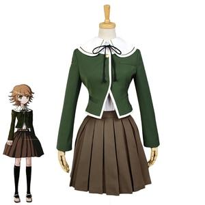 Image 2 - Danganronpa Cosplay de Fujisaki Chihiro para mujer, uniforme escolar, abrigo, camisa, traje, Cosplay de Anime, peluca, Halloween, 6 uds.