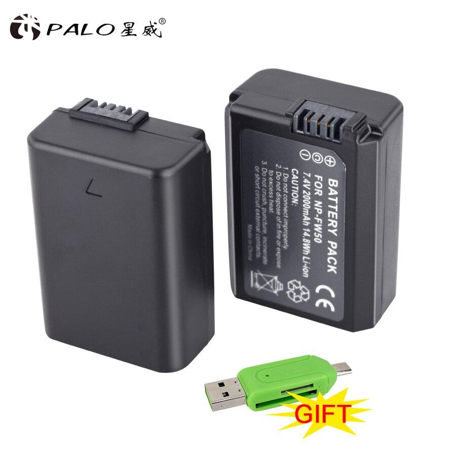 PALO 2 piezas NP-FW50 NP FW50 batería de la cámara para SONY A5000 A5100 A7R NEX 6 7 5TL 5R 5N 3Nl a6000 5 t 5C 3N A7 NEX6 NEX7 NEX5TL NEX5R
