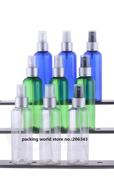c12546ac80d1 US $56.0 |100ml round shoulder plastic PET bottle with mist sprayer pump  for toner/water/perfume/sprayer cosmetic packing skin care -in Refillable  ...
