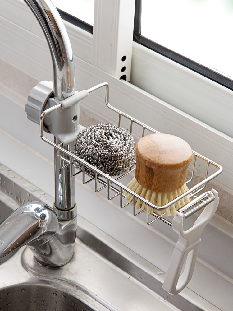 Home Stainless Steel Faucet Rack, Cloth Rack, Leachate Rack, Household Kitchen Sink Holder Without Perforation