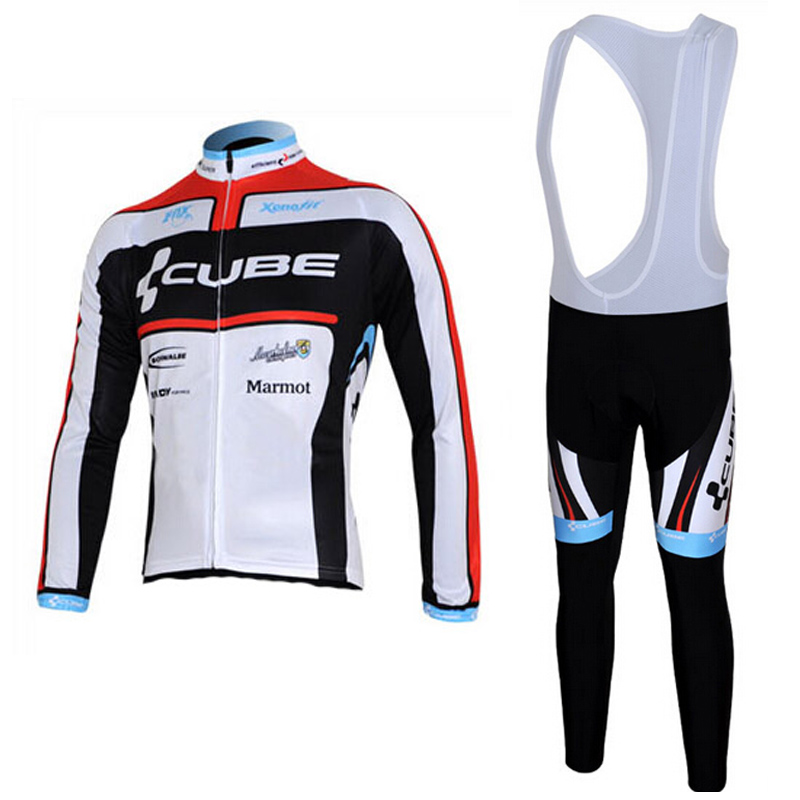 Cycling Clothing Cube Long Sleeve Cycling Jerseys suit Quick Dry Black Race Bicycle Clothing / MTB Bike Sportswear Mens live team cycling jerseys suit a001