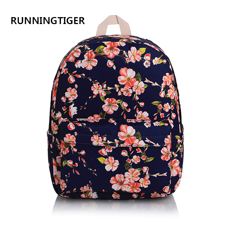 RUNNINGTIGER Floral Print Women Backpack Canvas School Bagpack Fashion Preppy School Bag ...