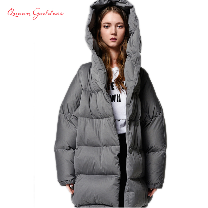 Winter Short cocoon type   coat   Simple style women warm   down   jacket with hood thicken new list parkas plus size large outwear