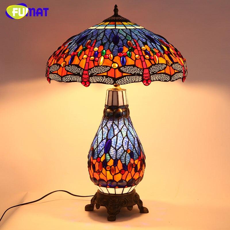 FUMAT Tiffany Europeo Libellula Soggiorno Comodino Illuminazione di Qualità Lampada Da Tavolo In Vetro Colorato Per Ufficio Bar Lampade Da Tavolo A LED