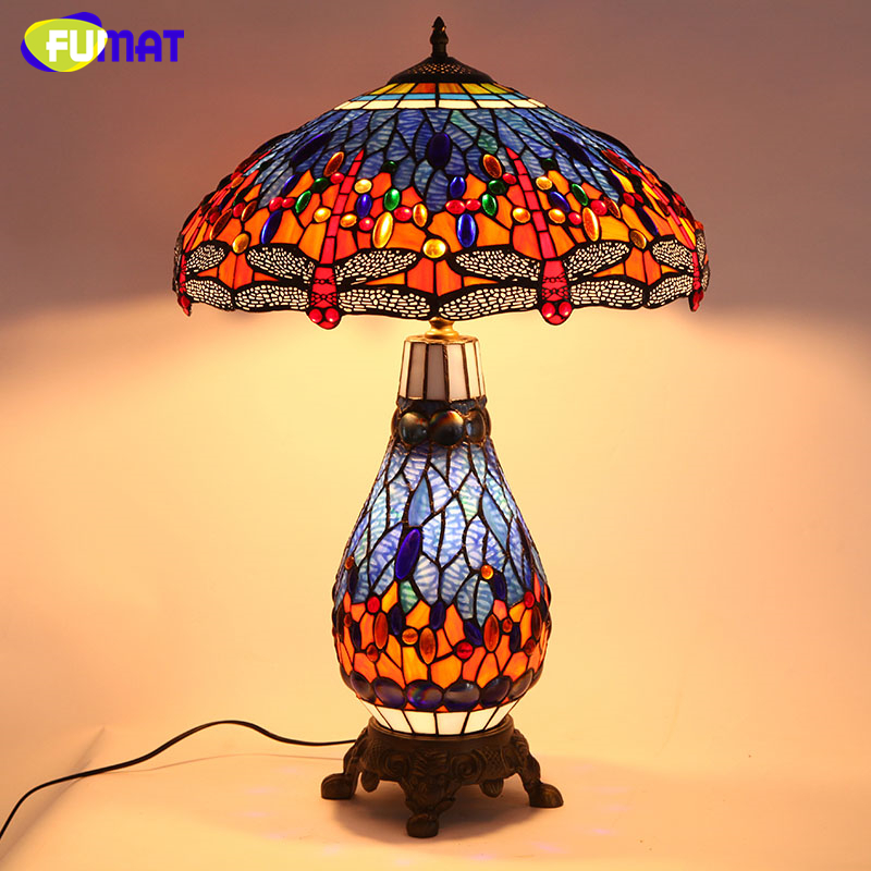 FUMAT Tiffany Libellule Européenne Salon De Chevet Lampe de Table Qualité Teinté Verre Éclairages Pour Bureau Bar LED Lampes de Table