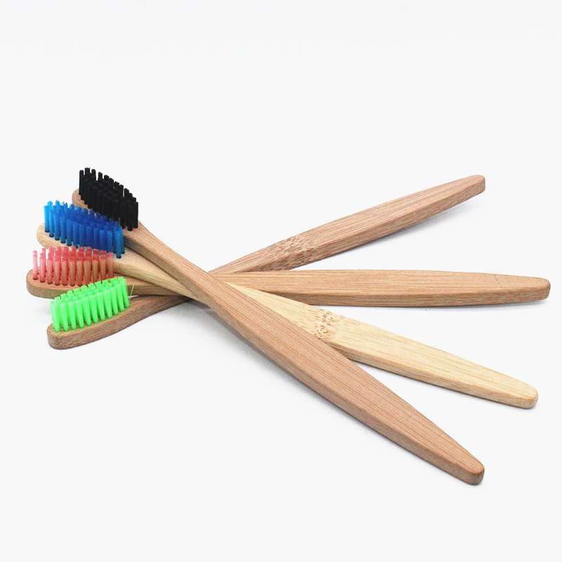 Boutique Packaging 4 colors Bamboo Toothbrush 4Pcs/Lots Bamboo Handle Bamboo Fiber Bristle Tandenborstel Low carbon Toothbrush image