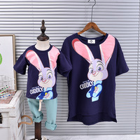 2 Pieces Lot Family Look Clothing New Spring Child Short Sleeved T Shirt Matching Family Shirts