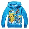 HOT 2017 Meninos Hoodies Pikachu Pokemon Go Roupas Camisolas das Crianças Para O Menino Crianças Outwear Dos Desenhos Animados Tops Vestidos Costume 3-10Y