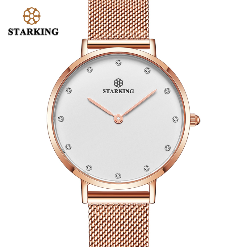 STARKING Fashion Casual Women Mesh Watch luxury Ladies Quartz Ladies Watch Waterproof Ultra Slim Simple Watch Damske Hodinky carnival iw authentic ladies watch quartz watch steel mesh with noble women s watch waterproof ultra thin simple women s watch