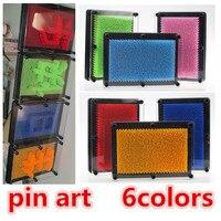 Atacado 6 cores De Plástico brinquedo engraçado jogo clone forma pin art Pinscreen agulha Pinart 3D presente vermelho/azul/verde frete grátis