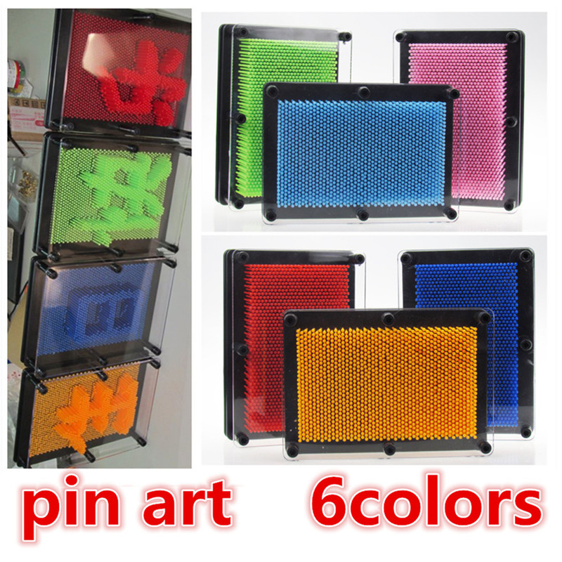 wholesale 6color Plastic toy funny game Pinart 3D clone shape pin art  Pinscreen needle gift  red/blue /green free shipping children funny lucky game gadget joke toy projectile fun
