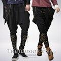 Pantalones harem Coreano gran código de punto flojo ocasional con un par de pies y corbata colgando entrepierna pantalones