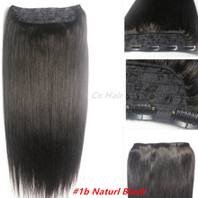 #1b off black Thick Full Head 1pcs full head set 100% Brazilian Virgin remy human hair extensions clips in/on 26colors available