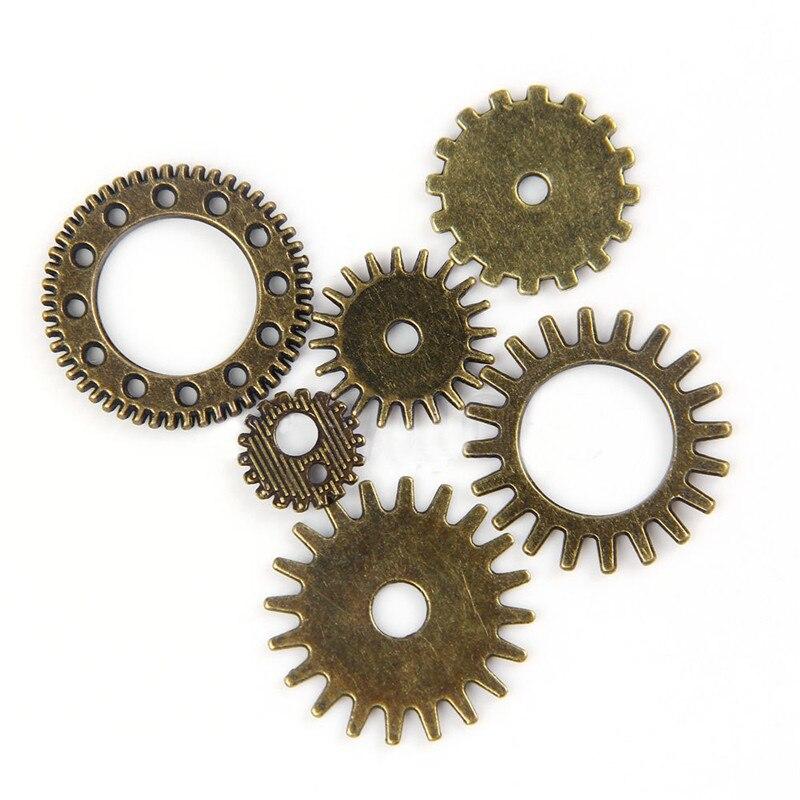 Qinlee 100 Grammi Steampunk Ingranaggi Meccanici Ingranaggi in Metallo Ciondolo Fai da Te Gioielli Fai da Te Fai da Te Parti Materiale Stile Casuale Gold