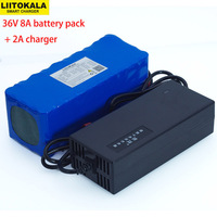 Liitokala 36v 8AH 10S4P Electric Bicycle Car Battery High capacity Lithium Battery + Charger 42V 2A