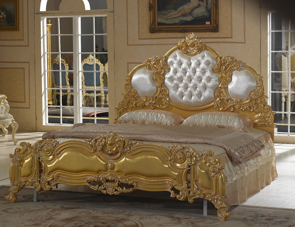 Baroque Style Furniture Solid Wood Hand Carved Bedroom Set Free