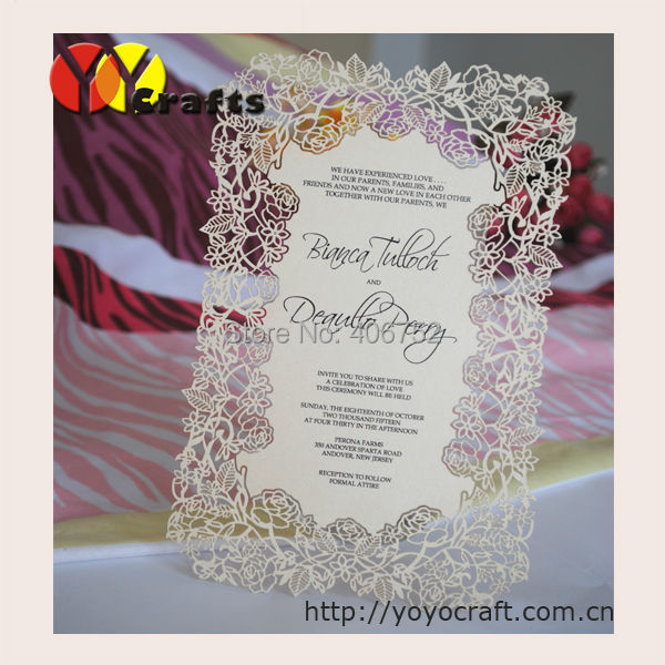 US $14 6 |Printing service laser cut invitation cards models menu card  20pcs/lot paper(Printing included)-in Cards & Invitations from Home &  Garden on