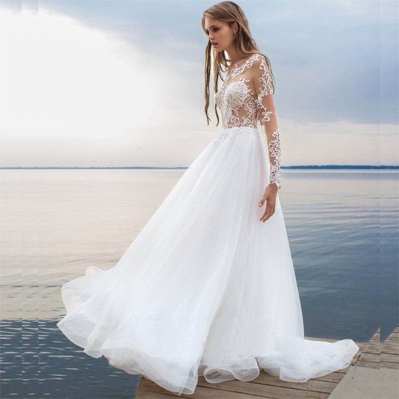 white beach wedding dresses 2017 long sleeve bride dresses lace transparent tulle bridal gown backless women wedding dress in wedding dresses from weddings