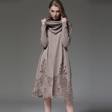 High Quality Brand Fashion Long Sweater Dress 2020 Autumn Wi