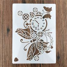 1pc Cute Clock Butterfly Reusable Stencil For DIY Scrapbooking Stamping Paper Card Drawing Template Crafts Pochoir
