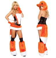 Adult Women Animals Cosplay Costume Halloween Costume Party Dresses Fox Suit Dress Hat + Tops + Skirt + Oversleeves + Leg Sets