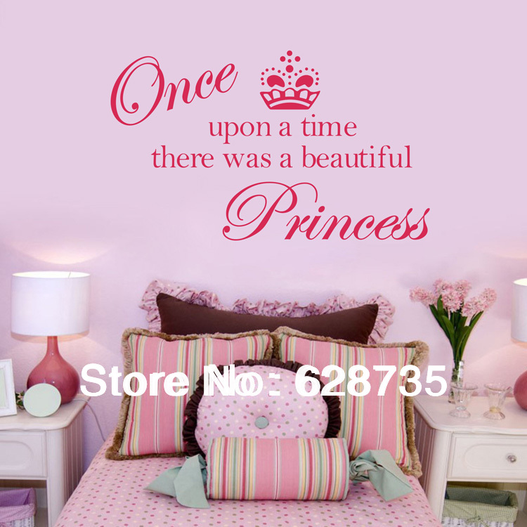 aliexpresscom buy sell on ebay free shipping crown princess vinyl wall decals stickersprincess bedroom decoration for baby girls room q0204 from - Shop Bedroom Decor