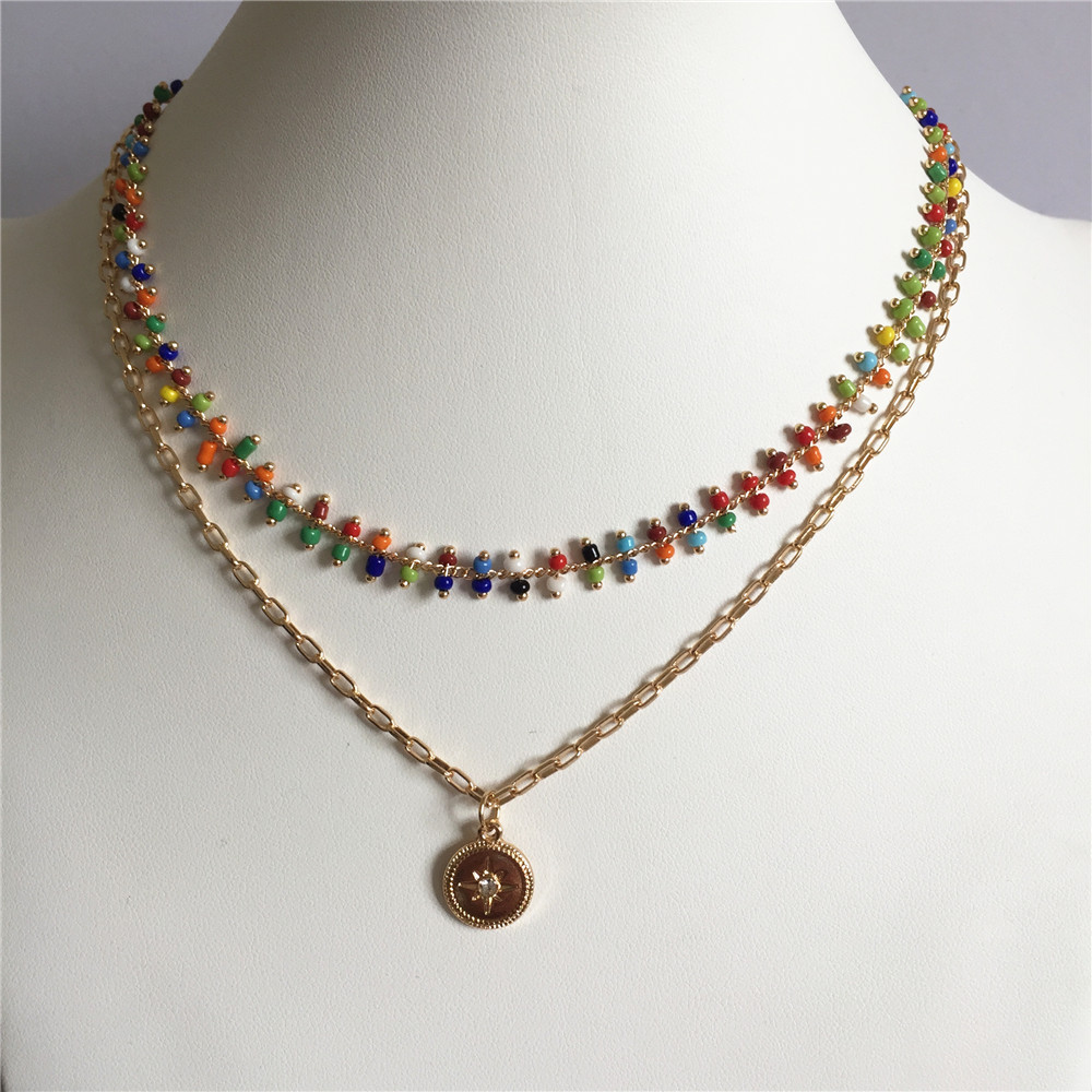 CHIC GOLD COLOR PLATING COLORFUL BEAD EUROPE STYLE LAYERED NECKLACE FOR WOMEN