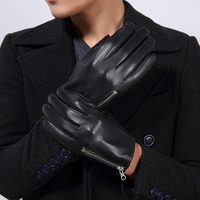 Wholesale Male 2018 Spring/Winter Genuine Leather Short Thick Black Real Sheepskin Glove Man Gym Luvas Car Driving Mittens