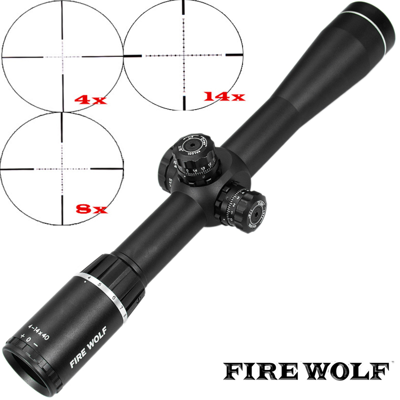 FIRE WOLF 4-14X40 Optics Riflescope Side Parallax Tactical Hunting Scopes Rifle Scope Mounts For Airsoft Sniper Rifle carl zeiss 5 25x50 ffp optics riflescope side parallax tactical hunting scopes rifle scope mounts for airsoft sniper rifle