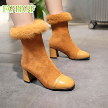 2019 Faux Suede Women Sock Boots Thick High Heels Ankle Boots for Women Fashion Slim Stretch Shoes Woman(China)