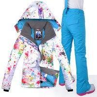New Women Ski Jacket Pants Windproof Waterproof Super Warm Clothing Outdoor Sport Wear Camping Riding Skiing